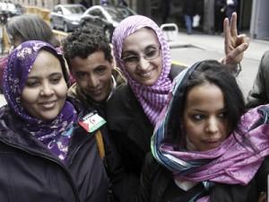 Aminatu Haidar a la salida de la Audiencia Nacional.- Paco Campos (EFE)