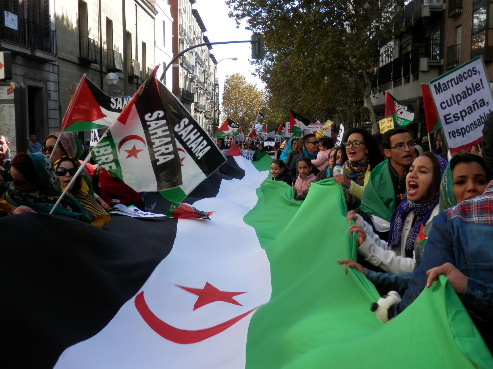 Resultado de imagen de fotos protestas pueblo saharaui